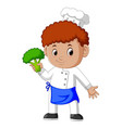 young male chef holding fresh broccoli vector image