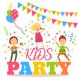 flat cartoon kid party banner poster invitation vector image