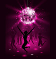 silhouette people dancing in night-club disco vector image