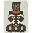 Old photo of hipster raccoon vector image