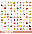100 food icons set flat style vector image vector image