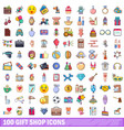 100 gift shop icons set cartoon style vector image vector image