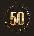 50 years anniversary gold banner vector image