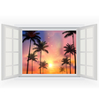 Beautiful sunset with palm trees vector image vector image