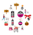 black friday sales icons set cartoon style vector image