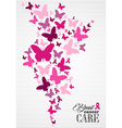 Breast cancer awareness butterfly ribbon poster vector image vector image