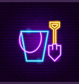 bucket shovel toy neon sign vector image vector image