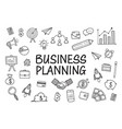 business doodles hand drawn icons vector image