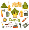 camping tourism equipment set vector image vector image