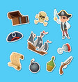 cartoon sea pirates stickers set vector image
