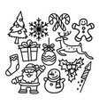 christmas icon set doodle holiday image vector image
