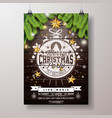 christmas party flyer with gold star vector image vector image