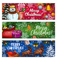 christmas sketch banner for winter holiday design vector image vector image