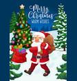 christmas tree gifts santa winter holiday card vector image