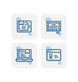 creative blue e learning certificate icons design vector image vector image