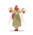 cute girl in angel costume holding buckets with vector image vector image
