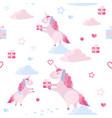 cute seamless pattern unicorn clouds vector image