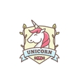 cute unicorn logo for baby shop in cartoon vector image vector image