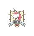 cute unicorn logo for bashop in cartoon vector image
