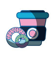 delicious donuts with coffee plastic cup to eat vector image
