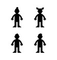 dolls little boy and girl black silhouette vector image vector image