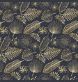 elegant pattern with golden tropical leaves vector image
