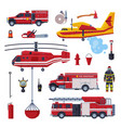 fireman equipment collection red emergency vector image vector image