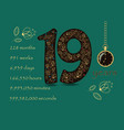 floral card with number nineteen and pocket watch vector image vector image