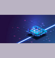 futuristic microchip processor with lights on the vector image vector image