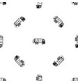 garbage truck pattern seamless black vector image vector image