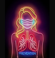 glow female silhouette with healthy lungs and vector image