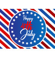 happy 4th july typography banner vector image vector image