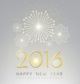 Happy new year and fire work silver background vector image
