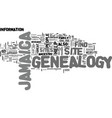 jamaica genealogy text background word cloud vector image vector image