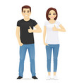 man and woman showing thumb up vector image vector image