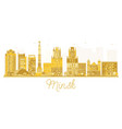 minsk belarus skyline golden silhouette vector image vector image