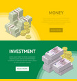 money investment flyers with paper banknotes vector image