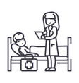 nurse and patient line icon sign vector image vector image