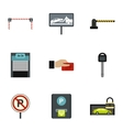 Parking station icons set flat style vector image vector image