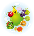 planet with happy fruits vector image vector image