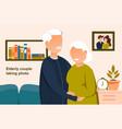 portrait elderly couple vector image