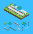 railway passenger train station and elements vector image
