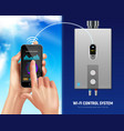 realistic water heater smart banner vector image vector image
