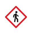 red pedestrian crossing sign vector image vector image