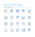 set color line icons education vector image