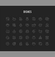 set line icons dishes vector image