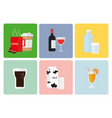 set of beverages coffee wine water soft drink vector image