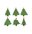 set of fir trees vector image