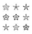 set of various contour sea starfish vector image vector image