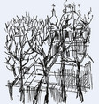 sketch cityscape with trees silhouettes vector image